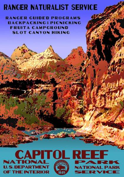 Fruita Photograph - Capitol Reef National Park Vintage Poster by Eric Glaser