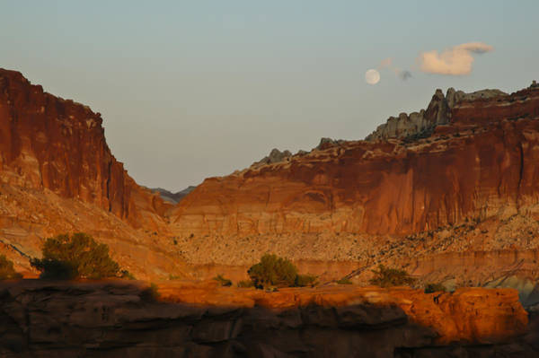 Photograph - Capitol Reef Sunset Moonrise 1 by Lee Kirchhevel