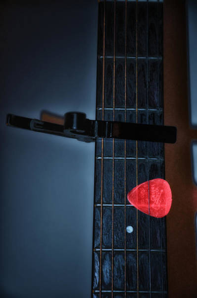 Fret Board Photograph - Capo And Pick by Bill Cannon