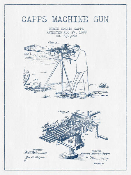Shooting Digital Art - Capps Machine Gun Patent Drawing From 1899 -  Blue Ink by Aged Pixel