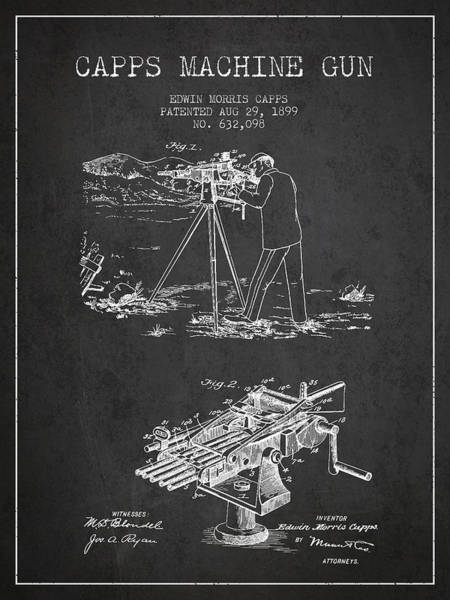 Shooting Digital Art - Capps Machine Gun Patent Drawing From 1899 - Dark by Aged Pixel