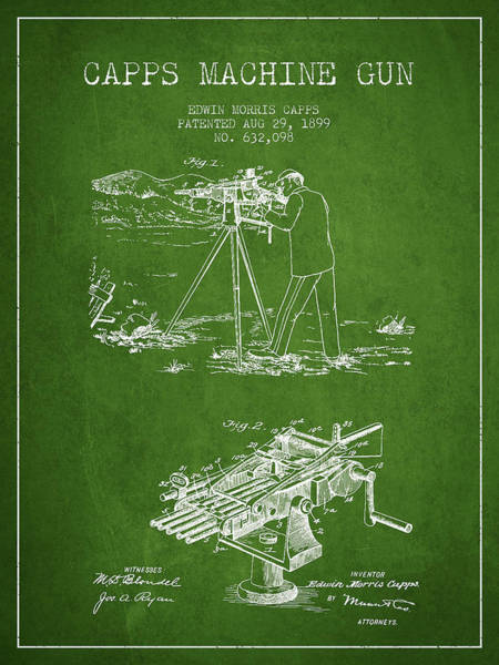 Weapons Digital Art - Capps Machine Gun Patent Drawing From 1899 - Green by Aged Pixel