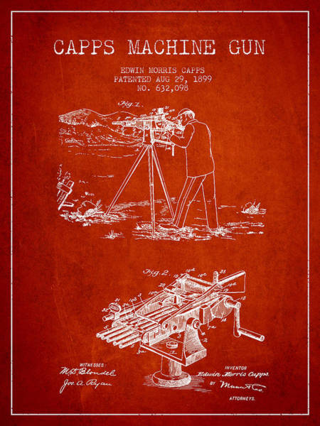 Shooting Digital Art - Capps Machine Gun Patent Drawing From 1899 - Red by Aged Pixel