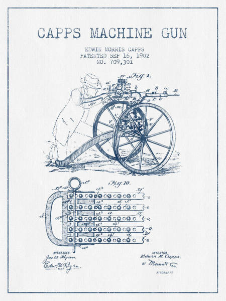 Antique Firearms Wall Art - Digital Art - Capps Machine Gun Patent Drawing From 1902 -  Blue Ink by Aged Pixel