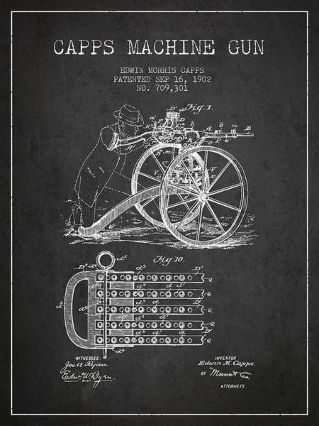 Antique Firearms Wall Art - Digital Art - Capps Machine Gun Patent Drawing From 1902 - Dark by Aged Pixel