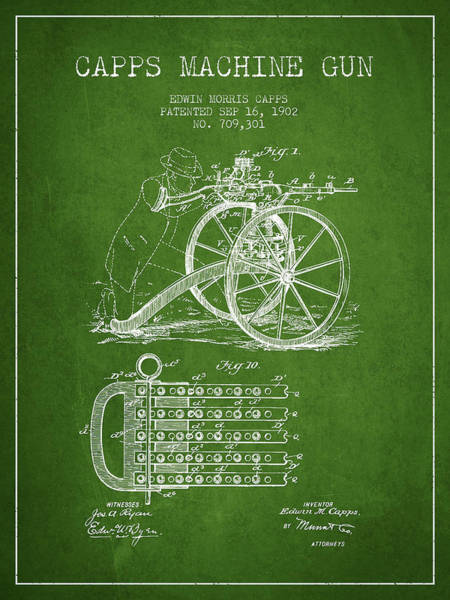 Shooting Digital Art - Capps Machine Gun Patent Drawing From 1902 - Green by Aged Pixel