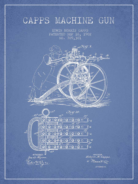 Shooting Digital Art - Capps Machine Gun Patent Drawing From 1902 - Light Blue by Aged Pixel