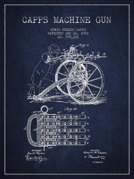 Weapons Digital Art - Capps Machine Gun Patent Drawing From 1902 - Navy Blue by Aged Pixel
