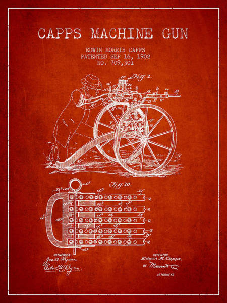 Weapons Digital Art - Capps Machine Gun Patent Drawing From 1902 - Red by Aged Pixel