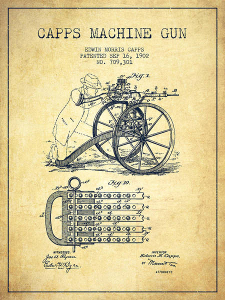 Shooting Digital Art - Capps Machine Gun Patent Drawing From 1902 - Vintage by Aged Pixel
