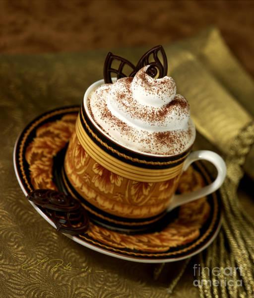 Wall Art - Photograph - Cappuccino Coffee On Gold by Iris Richardson