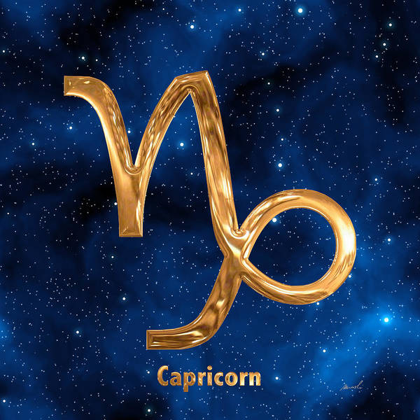 Signs Of The Zodiac Painting - Capricorn by The Art of Marsha Charlebois