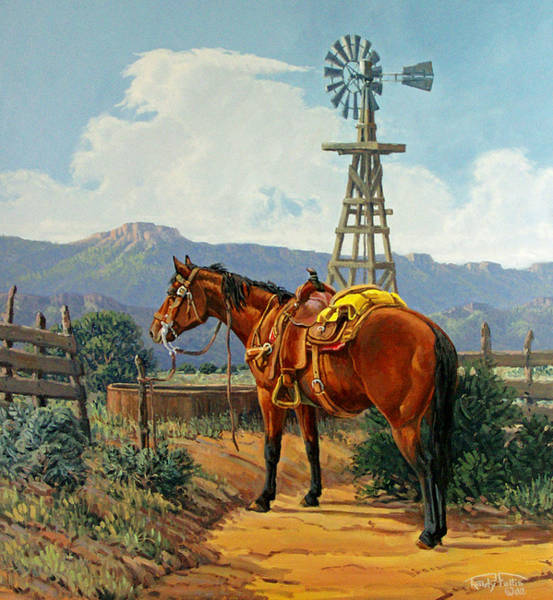 Wall Art - Painting - Caprock Windmill by Randy Follis
