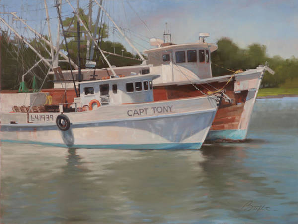 Fishing Boat Painting - Capt Tony by Todd Baxter