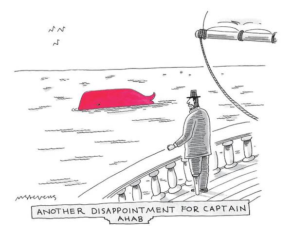 Writer Drawing - Captain Ahab Looks Out Into The Ocean At A Bright by Mick Stevens