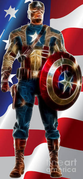 Digital Art - Captain America In Front Of Old Glory by Doc Braham