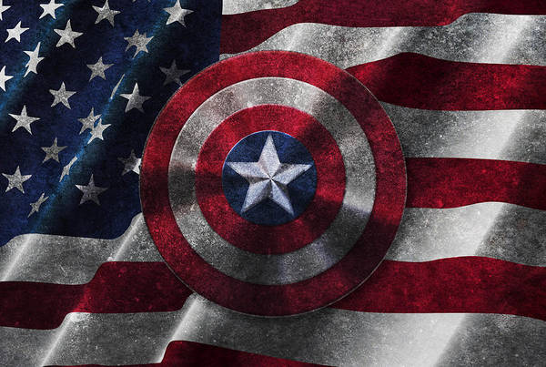 Captain America Shield On Usa Flag Art Print
