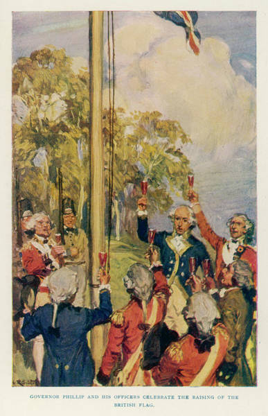 New South Wales Drawing - Captain Arthur Phillip Raising by Mary Evans Picture Library