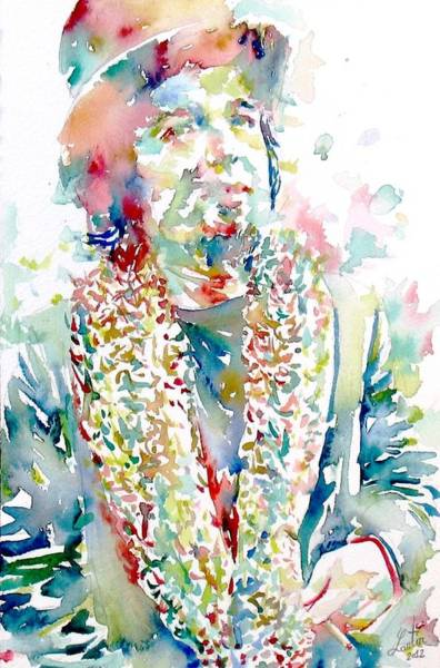 Psychedelic Image Painting - Captain Beefheart Watercolor Portrait.2 by Fabrizio Cassetta