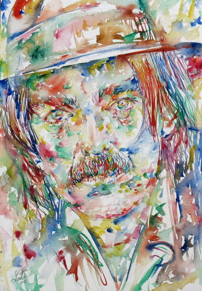 Psychedelic Image Painting - Captain Beefheart Watercolor Portrait.3 by Fabrizio Cassetta