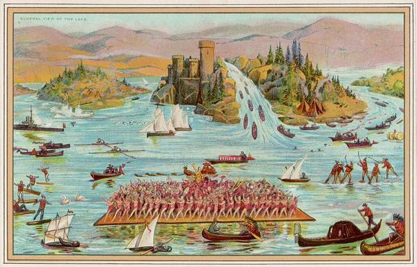 Wall Art - Drawing - Captain Boyton's World's Water  Show by Mary Evans Picture Library