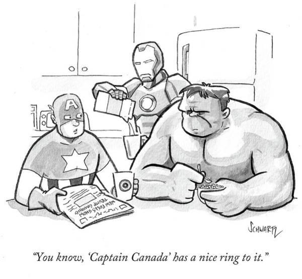Iron Drawing - Captain Canada Has A Nice Ring by Benjamin Schwartz
