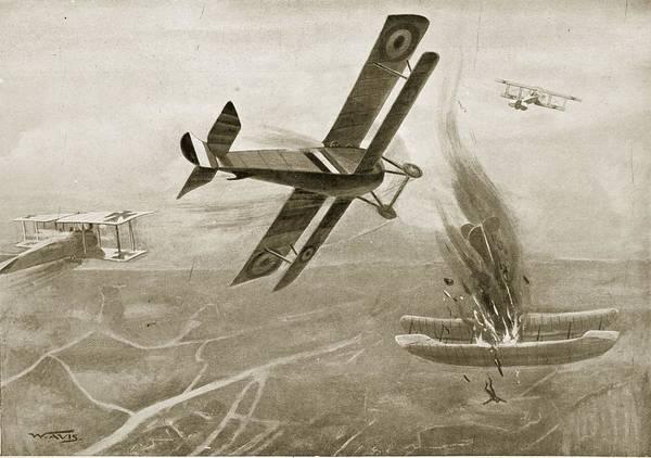 Bristol Wall Art - Drawing - Captain Hawkers Aerial Battle by W. Avis