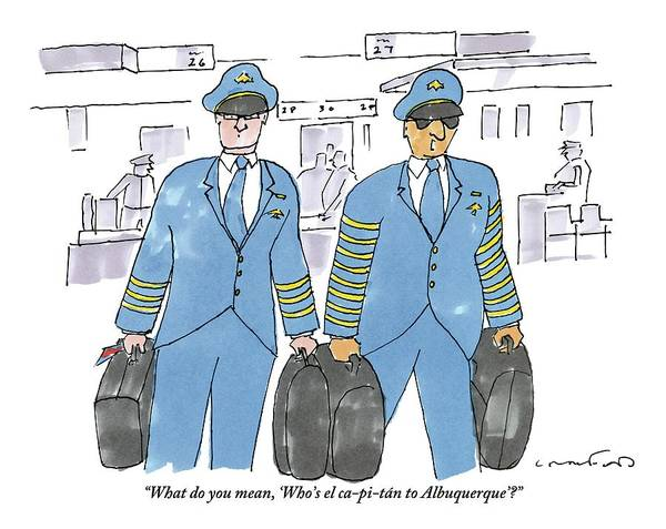 Captain Drawing - Captain In Sunglasses Talking To Copilot by Michael Crawford