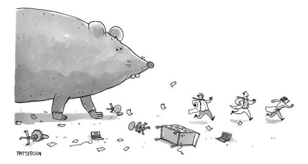 Giant Drawing - Captionless. Cctk. A Giant Rat Chases Scientists by Jason Patterson