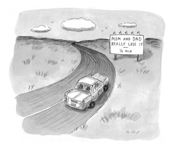 Automobile Drawing - Captionless 'mom And Dad Really Lose It  -  1/4 by Roz Chast
