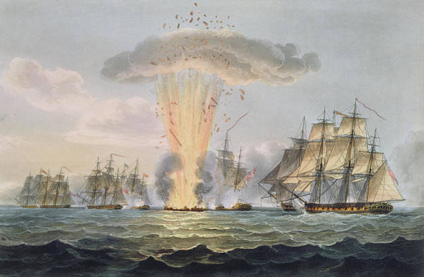 Explosion Drawing - Capture And Destruction Of Four Spanish by Thomas Whitcombe