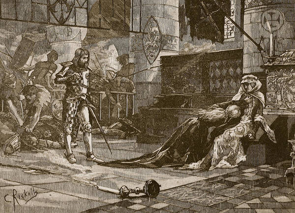 Sword Drawing - Capture Of Bruces Wife And Daughter by Charles Ricketts