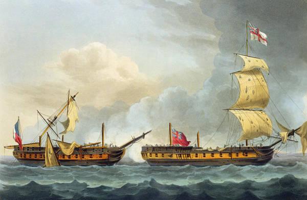 Warfare Drawing - Capture Of La Fique by Thomas Whitcombe