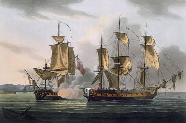Warfare Drawing - Capture Of La Reunion by Thomas Whitcombe