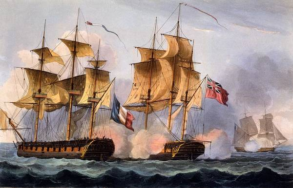 Warfare Drawing - Capture Of Le Desius by Thomas Whitcombe
