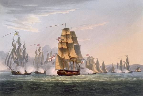Warfare Drawing - Capture Of Le Sparviere by Thomas Whitcombe