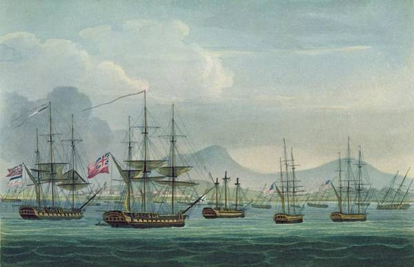 Warfare Drawing - Capture Of The Maria Riggersbergen by Thomas Whitcombe