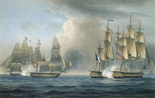 Attack Drawing - Capture Of The Pomone By Hms Arethusa by Thomas Whitcombe