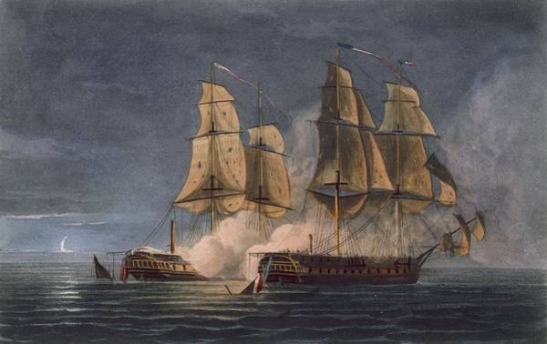 Warfare Drawing - Capture Of The Thetis By Hms Amethyst by Thomas Whitcombe