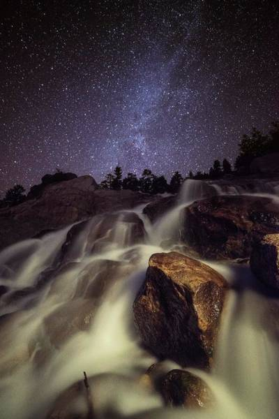 Capturing A Starry Night Waterfall In Art Print by Mike Berenson / Colorado Captures