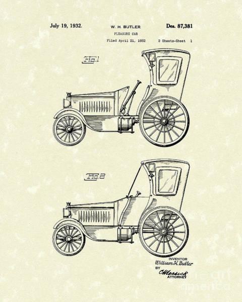 Pleasure Drawing - Car 1932 Patent Art by Prior Art Design