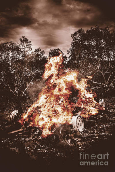 Flammable Photograph - Car Bomb Inferno by Jorgo Photography - Wall Art Gallery
