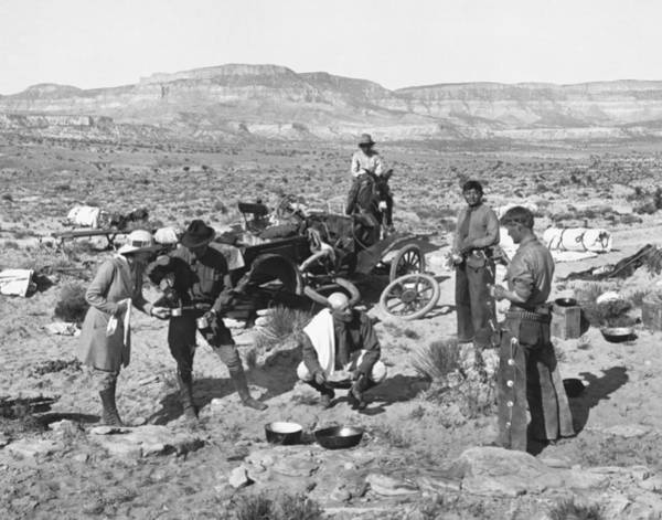 1900s Photograph - Car Broken Down In The Desert by Underwood Archives