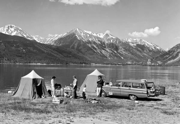 Camping Photograph - Car Camping In The Rockies by Underwood Archives