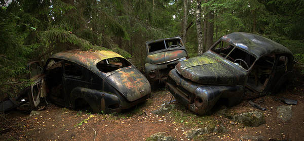 Old Car Wall Art - Photograph - Car Cemetery In The Woods. by Steen Lund Hansen