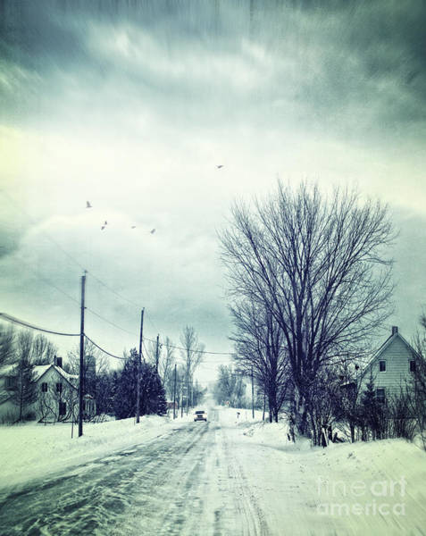 Photograph - Car Coming In The Distance On A Snowy Winter Road by Sandra Cunningham
