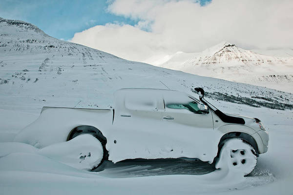 Trapped Photograph - Car Covered In Snow, Klaengsholl by Henn Photography
