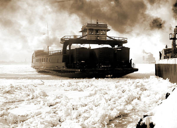 Michigan Drawing - Car Ferry, Michigan Central, Entering Slip, Detroit River by Litz Collection