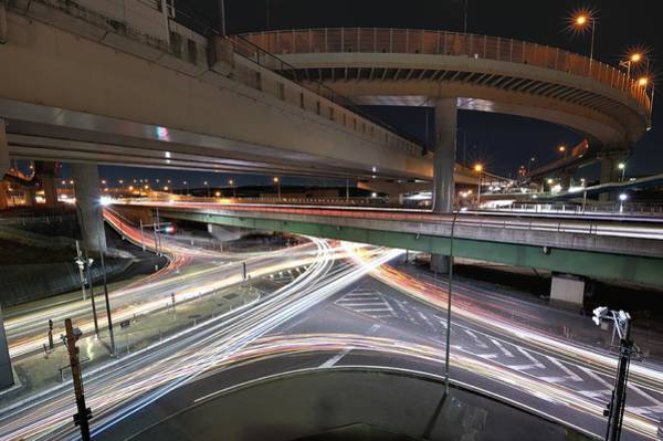 Crossroads Photograph - Car Light Trails by Photography By Shin.t
