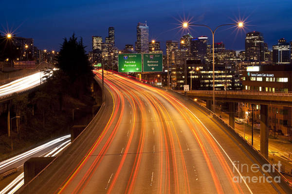 Interstate 5 Wall Art - Photograph - Car Lights On I-5 By Seattle Skyline by Jim Corwin